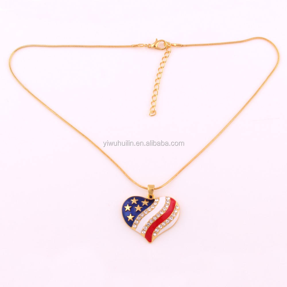 HJ059 Mode-sieraden Fancy Ontwerp Crystal Amerika Hart Emaille Ster <span class=keywords><strong>Vlag</strong></span> Hanger Ketting