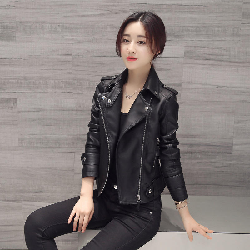 woman simulation leather pu jacket washed black jacket for lady
