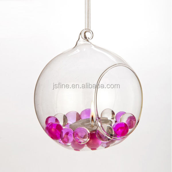 clear handblown hanging glass ball candle holder