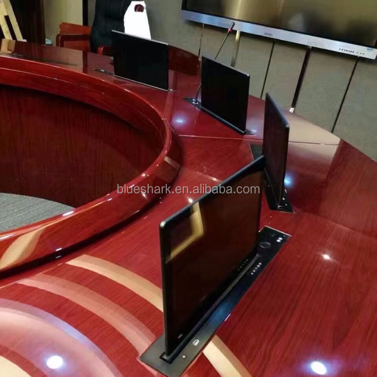 Flip up lcd monitor lift hidden in meeting table