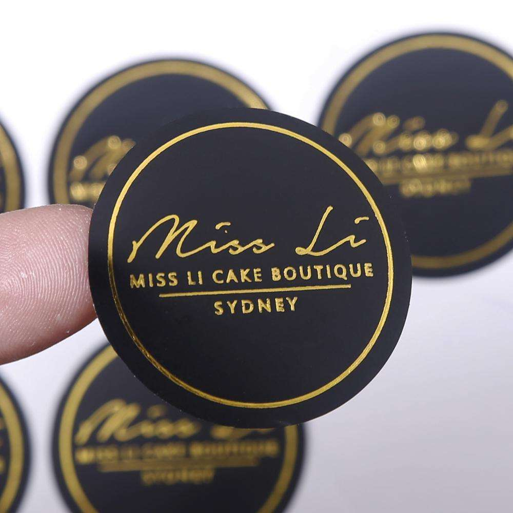 Luxury gold foil stamping black round custom printing logo stickers