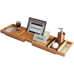 2019 Natural Bath Dreams Bamboo Bathtub Caddy Tray with Extending Sides