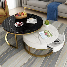 2020 newest modern simple style black glass marble top tea center coffee table
