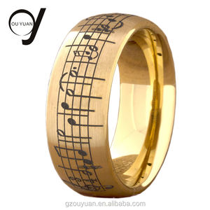 8MM saudi arabia gold rings mens jewelry piano music men yellow gold tungsten carbide ring