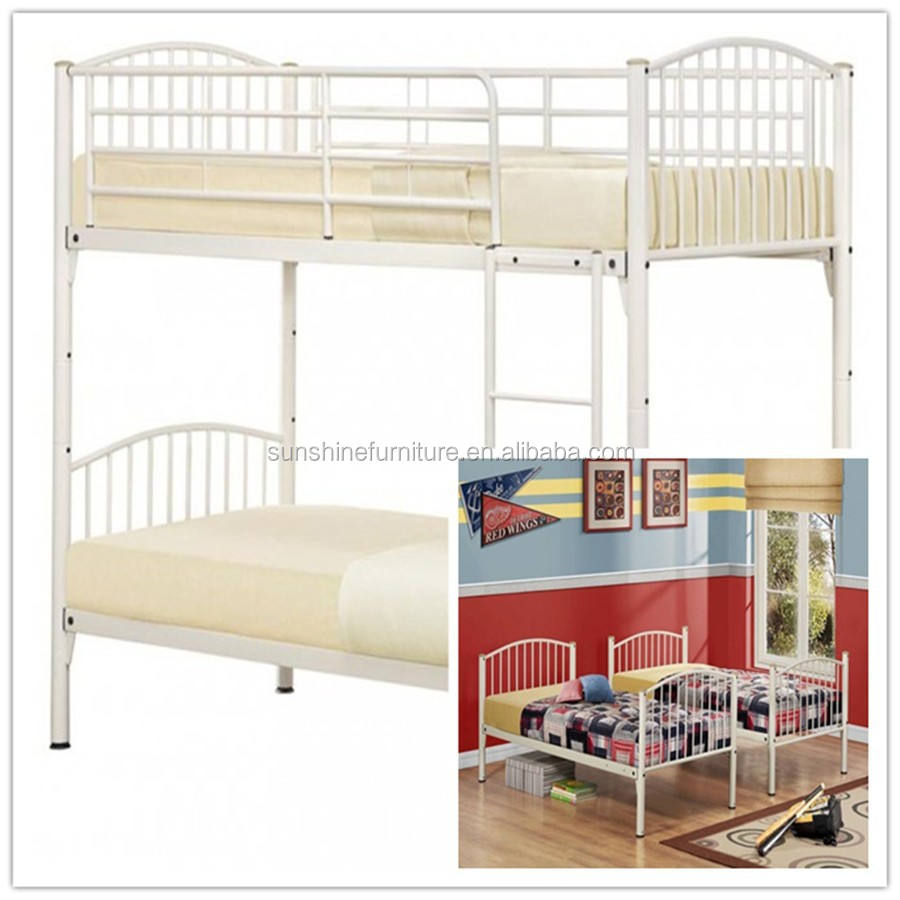wholesale chinese heavy duty steel easy assembly metal double bunk bed, cream, can be used as 2 x single beds