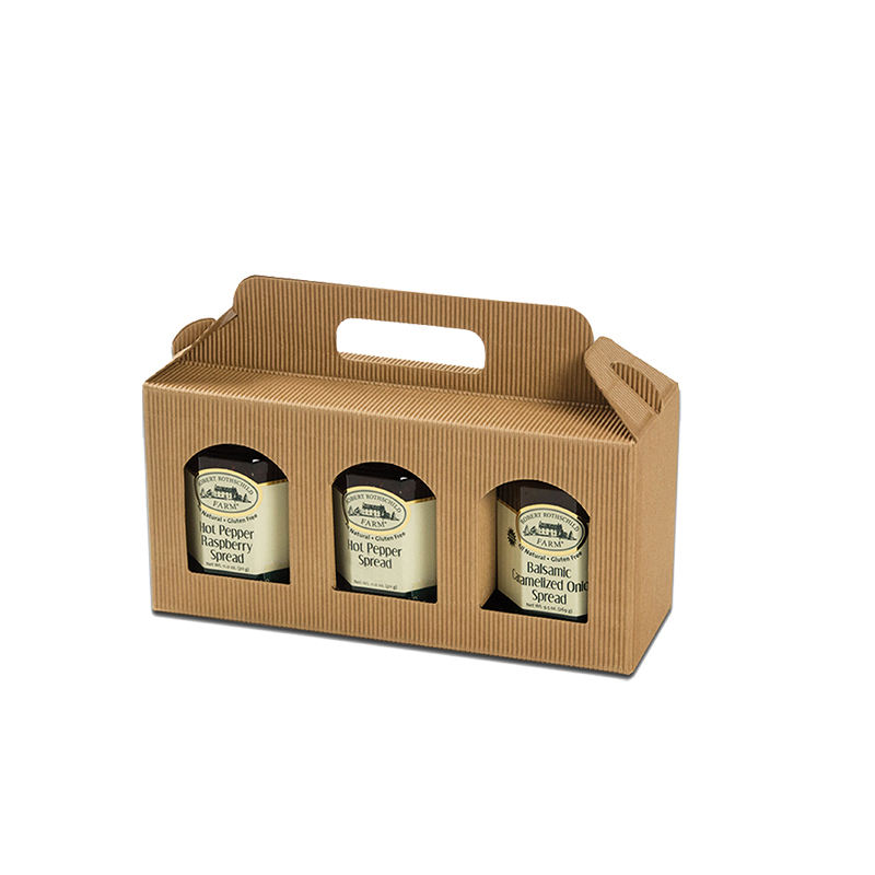 Custom cotton handle brown kraft paper gift box jar honey package jam jar gift boxes