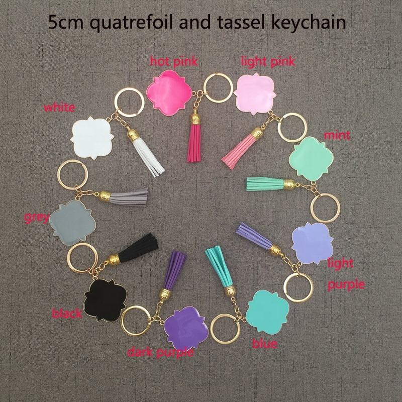 Stock Mixed Colors Cheap Gold Plated Cheap Large Vinyl Enamel Quatrefoil Suede Tassel Keychain