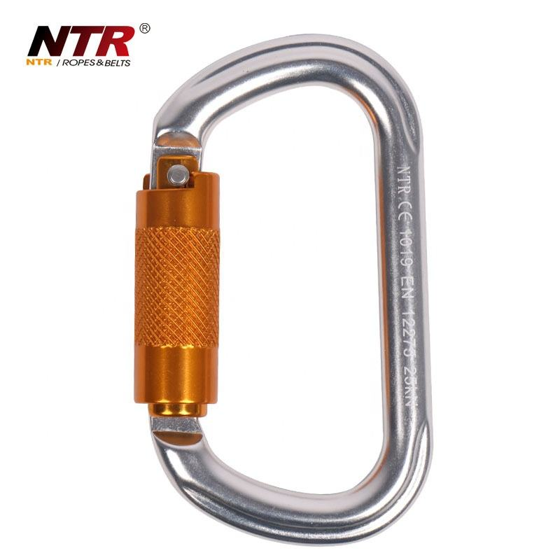 Aluminum rock oval/round shaped auto-lock climbing carabiner
