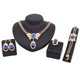 Cheap Hot Sale Fashion Indian Bridal Crystal Gold Plated Exaggerated Dubai Earrings Jewelry Sets