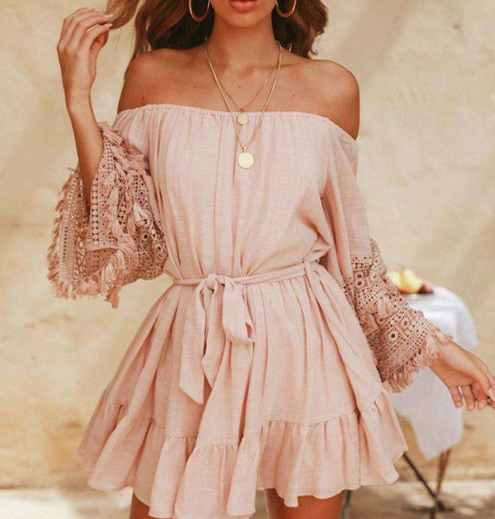 New Style Women Ladies Cotton Lace Off Shoulder Dress Casual Loose Pink Dress