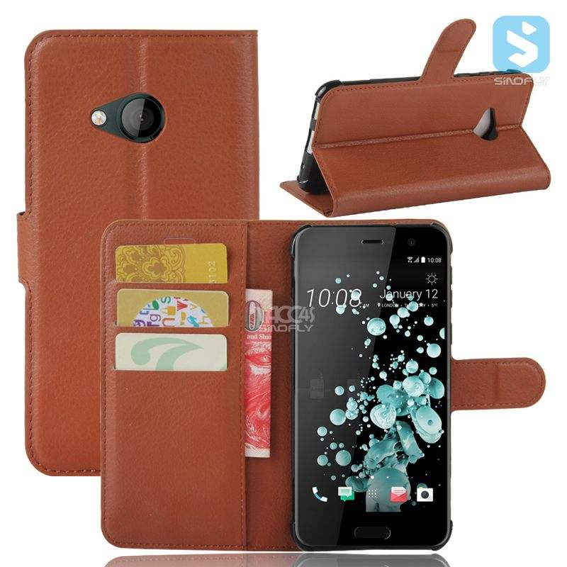 Stand Feature Wallet Leather Case with Card Pockets Protective Flip Cover For HTC U Play
