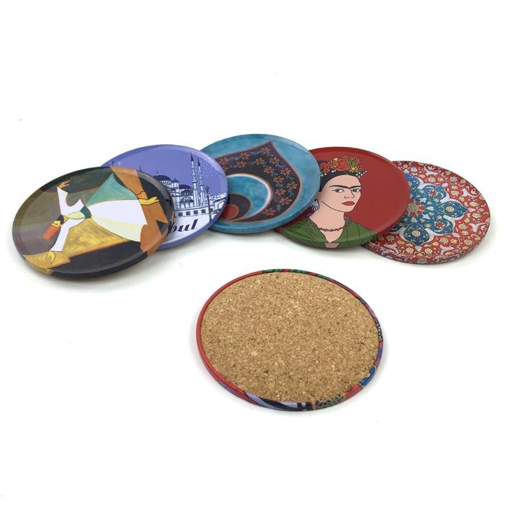 Dia 9cm round shape tin drink coasters with cork inside