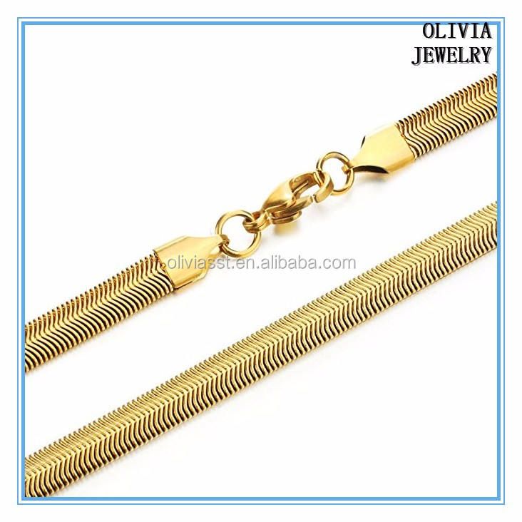 Olivia dubai nuevo diseño plateado oro de acero inoxidable de la vendimia cadena de la serpiente