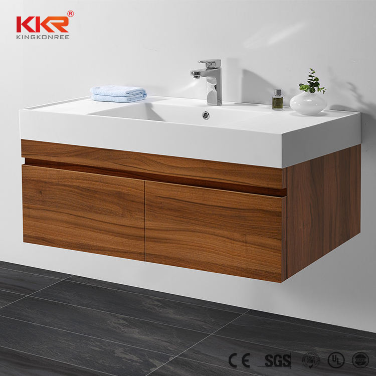 Modern bathroom vanity cabinet solid surface vanity top design