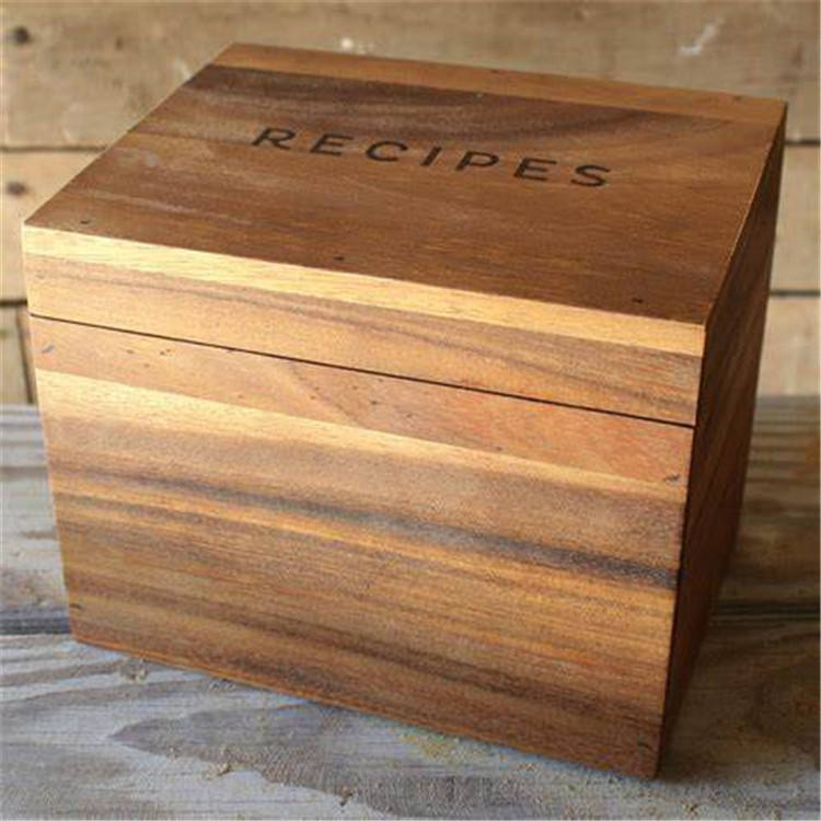 2019 new acacia wood kitchen recipe card box for chef
