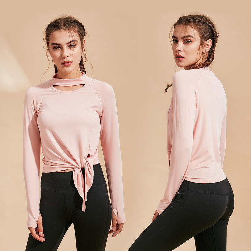 MOQ 1PC Spring Style Women Casual Long Sleeve Jumper Round Neck Blouse Pure Color Workout Sportswear