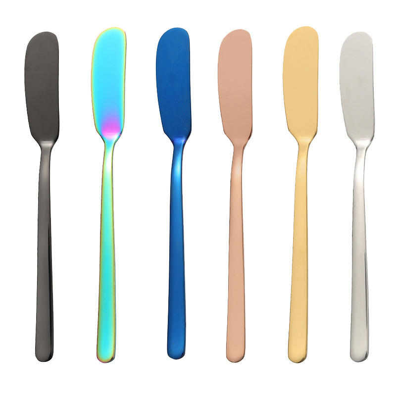 New Arrival!!! Food Grade Colorful Titanium Plated Dinner Bread Butter Knife