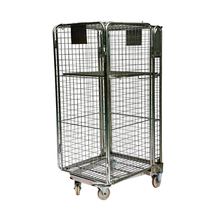 4 sided logistic A-frame security nestable storage folding metal steel cargo rolling mesh cage containers for sale