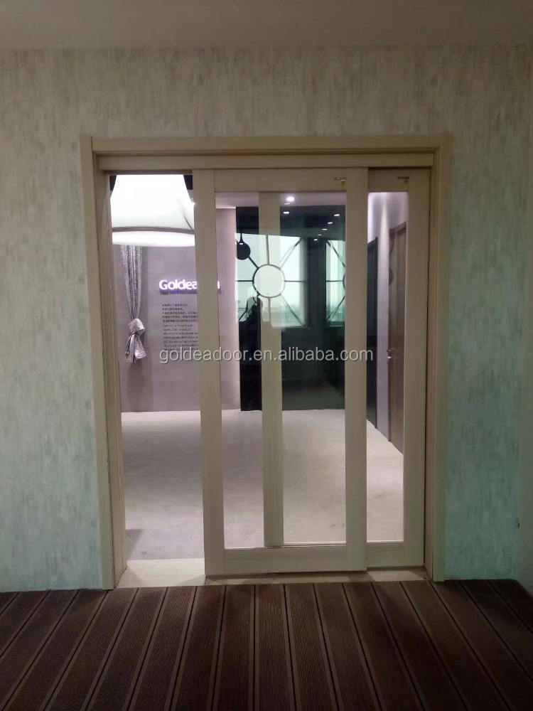 Diseño moderno mdf madera vidrio interior correderas Puertas de bolsillo