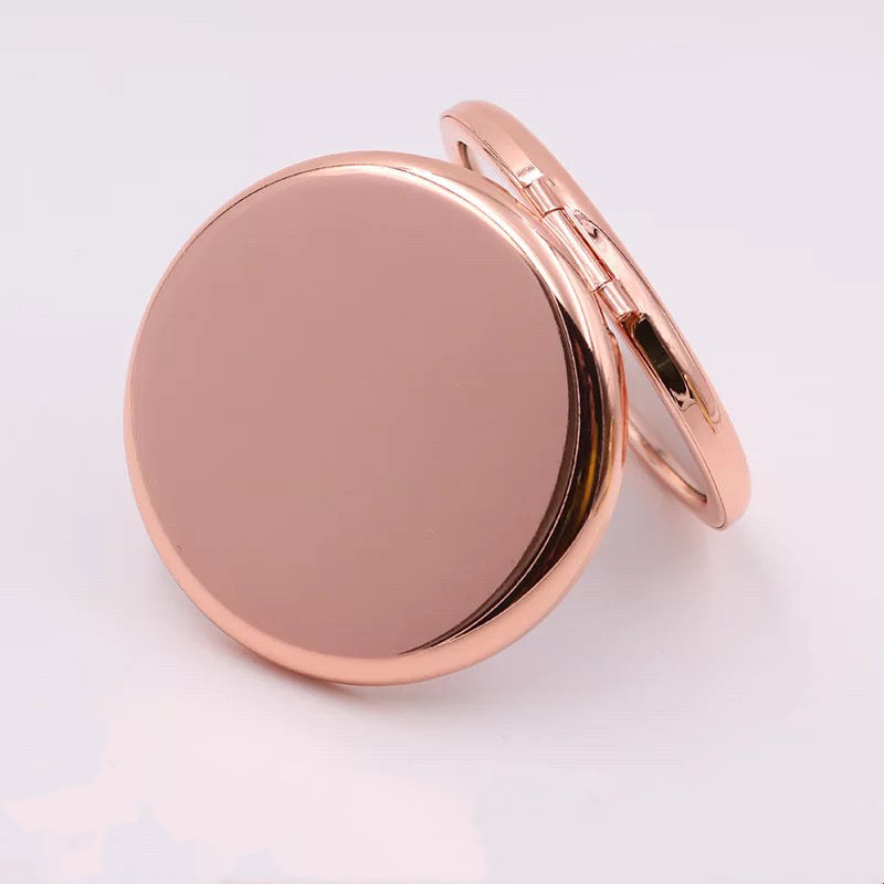 Sublimation Small Metal Rose Gold Compact Mirror With Custom Logo For Promotion