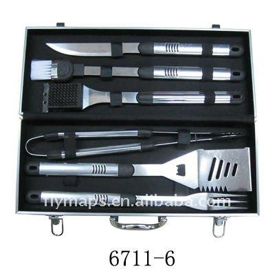 6 stks bbq barbecue set met aluminium case