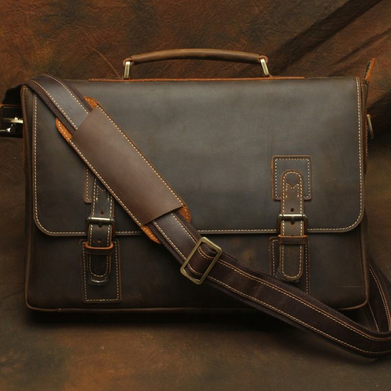 T1052 Men's Genuine Leather Briefcase for Business