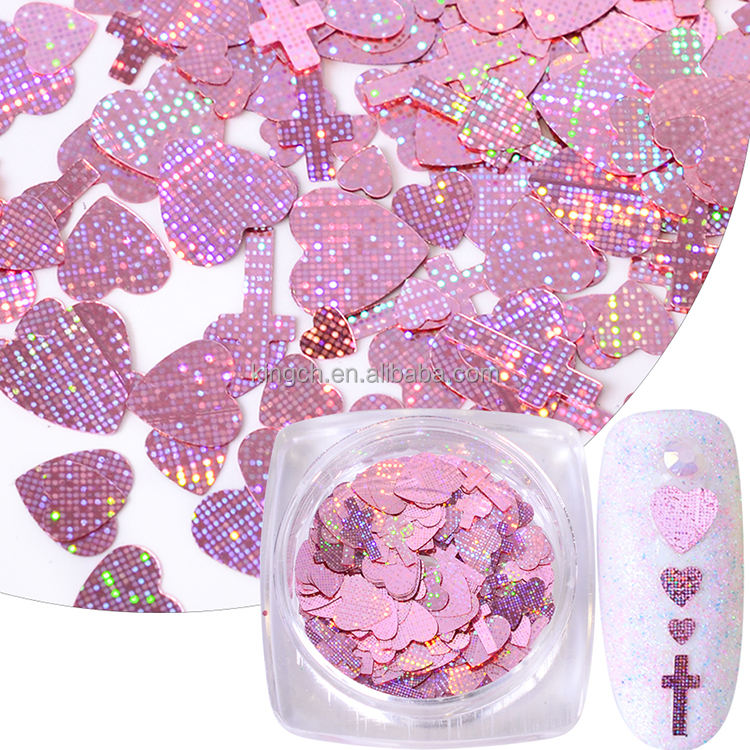 Hot sale New Designs Colorful Heart Cross Shape Glitter for Nail &DIY Decoration