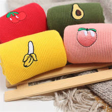 Cute Cartoon Fruit Print Banana Cherry Peach Girls Socks Korean Embroidery Funny Long Socks