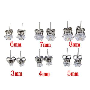 2pairs/lot Stainless Steel White Crystal Zircon Earrings Channel Brinco Stud Earring For Women Silver Earrings Jewelry Making