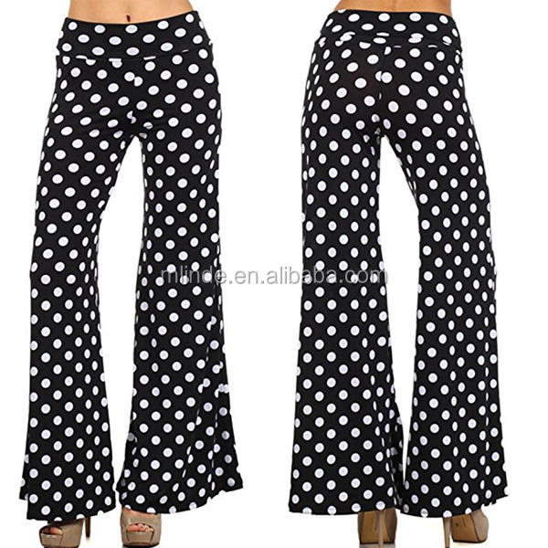 Casual Palazzo Pants Women's Polka Dot Wide Leg Palazzo Pants Solid Female Trousers Loose Fit Elastic Waist Pants