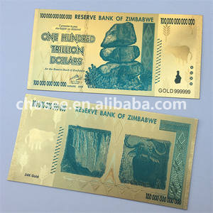 Hot sell 24k gold foil 100 hundred trillion zimbabwe banknotes for collection