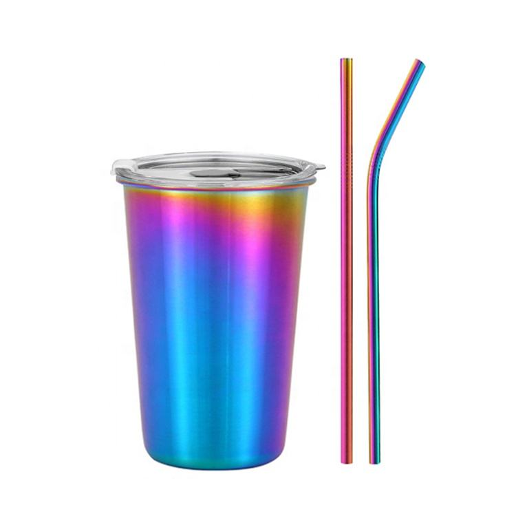 Customize logo 304 Stainless Steel Pint Cups 500ml 16oz Beer mug Coffee cup with straw and lid