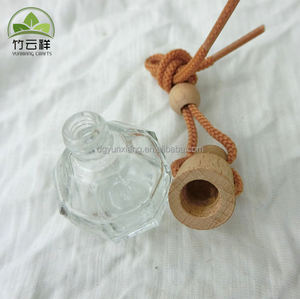 Eco Hanging Glass Bottle with Wood Cap Air Freshener Car Perfume