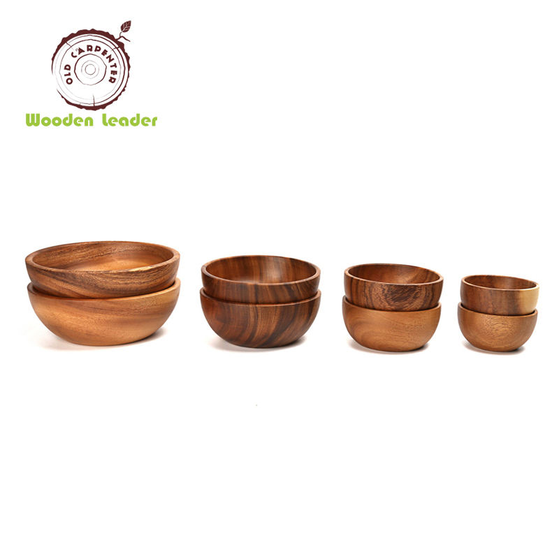 Eco Friendly Restaurant Acacia Bowl Set Soup Salad Wood With Factory Price