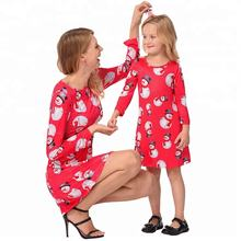 Custom Cheap Promotional Family Christmas Mother Daughter Matching Dress