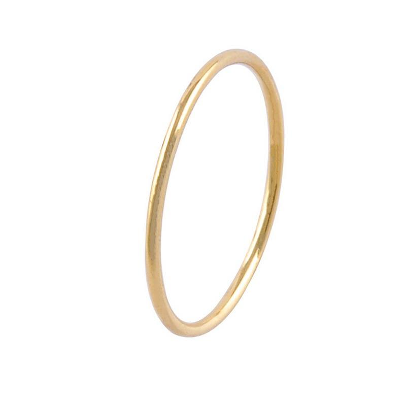 925 Sterling Silver Thin Band Ring 14K Gold Stackable Ring