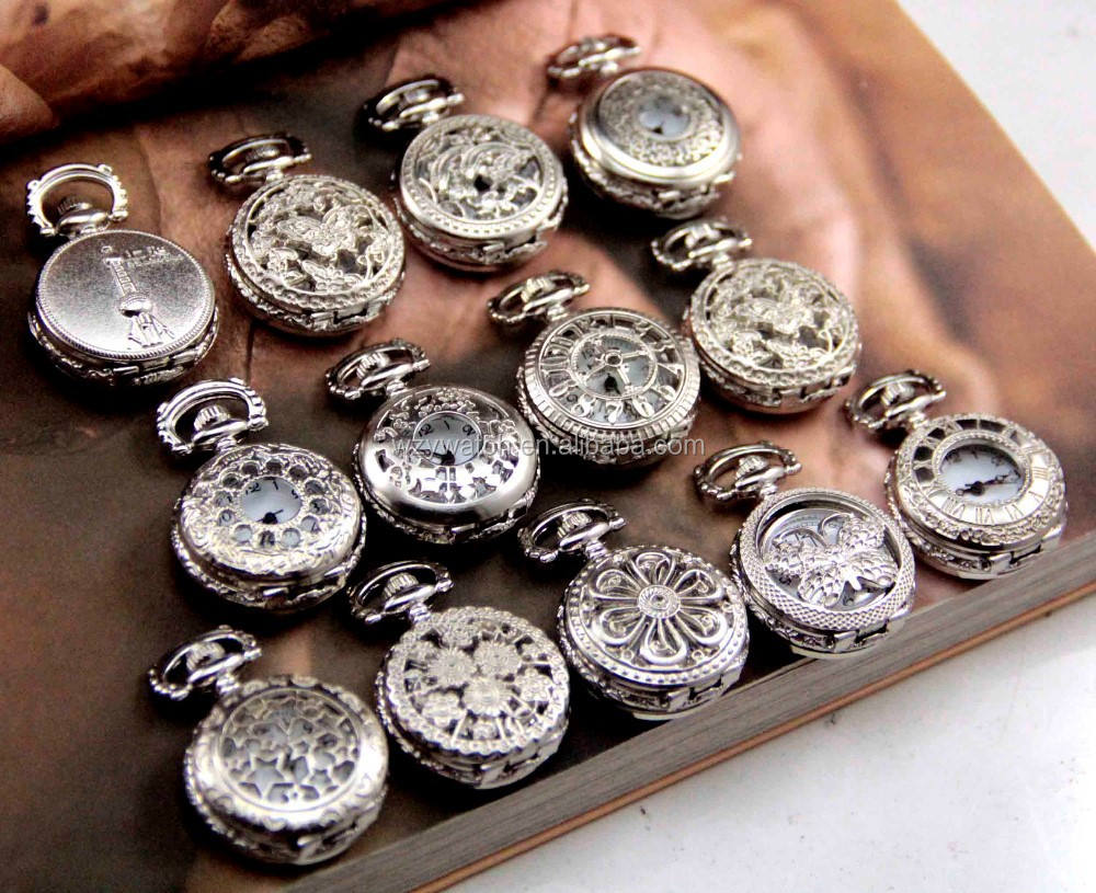 Mixed styles silver small pocket watch hottest New pendant Necklace Chain pocket watch Factory Direct Sale!