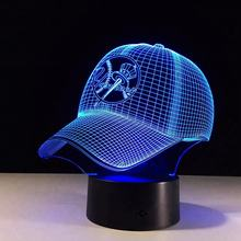 7 colors changing Light 3D Baseball Hat Illusion LED Night Light Table Lamp Decor GIft