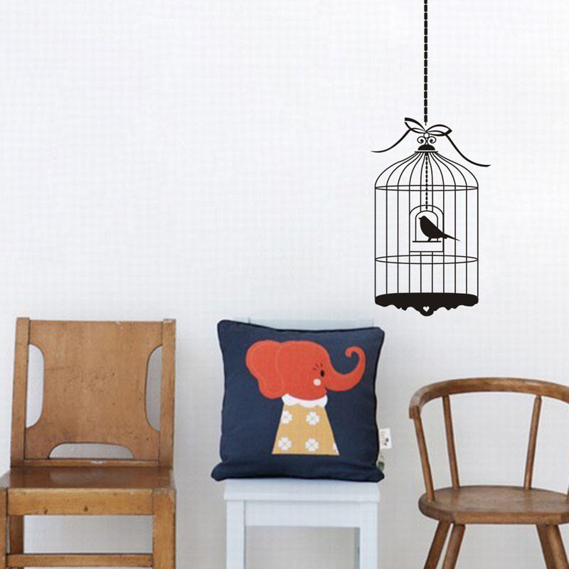 Black Exquisite Birdcage Eco-friendly Vinyl Wall Paper Kids Sticker