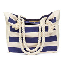 Summer large beach travel tote bag canvas shoulder bag with cotton rope handle