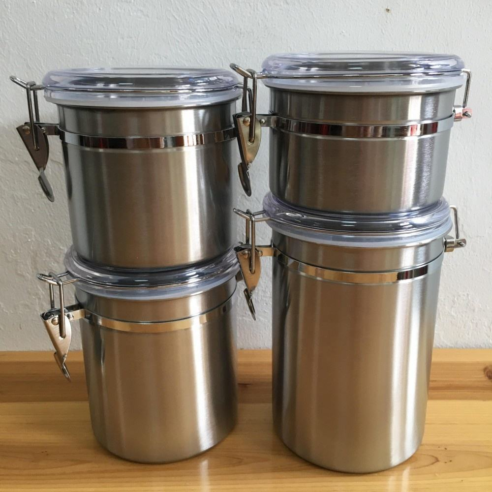 food grade airtight stainless steel storage canister 4pcs set