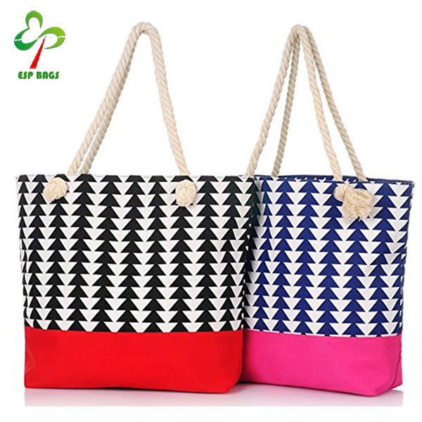 Elegant canvas beach bag 2pcs/set, beach bag canvas have 2 Color can be offered