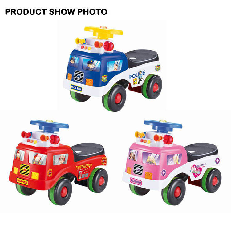 JK TOYS Kid Ride On Car Fire Engine Truck With Music And Policelight