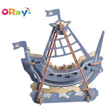 3D Wooden Puzzle DIY Wooden Pirate Boat Model Wood Craft Assembly Kits