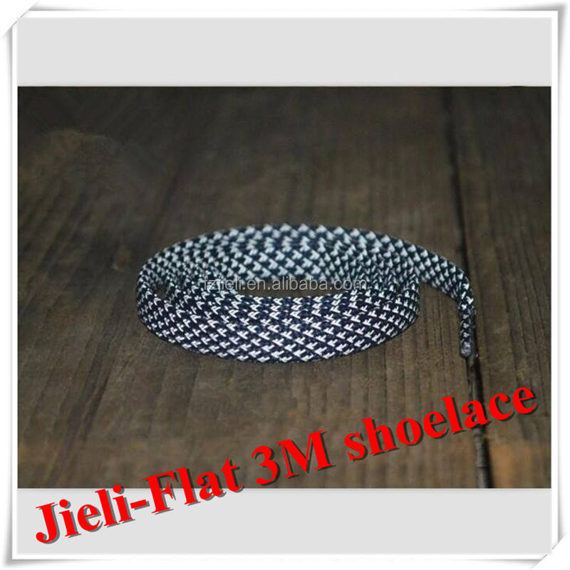 Jieli 2016 wholesale visible 8mm fat 3m reflective shoe laces for runners