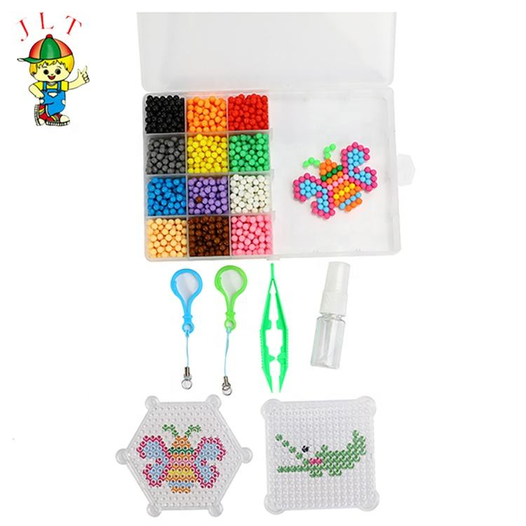 12 Colors kids toys birthday gift diy magic water beads optional Auqa fuse beads color 3d puzzle fuse beads set