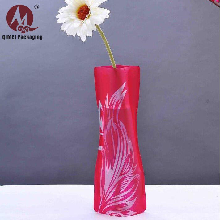 Wholesale biodegradable foldable stand up small clear plastic flower decor vases