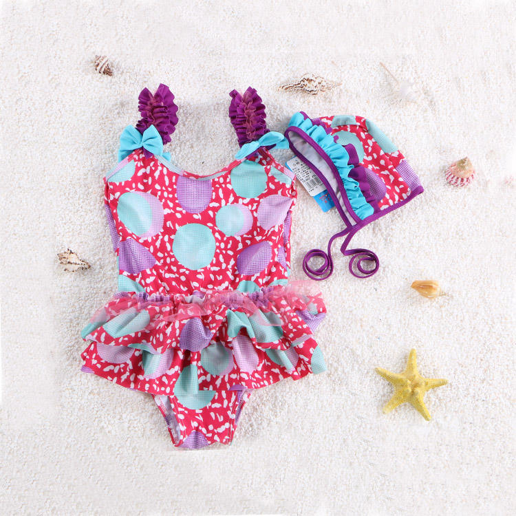 [ Swimwear ] Wholesale Floral Printing 1 Piece Swimsuit Baby Girls Bikini Swimwear