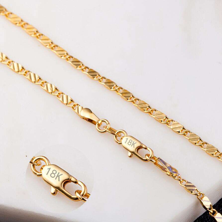 18K Yellow gold chain necklace for men and women 2 MM 16-30 inch