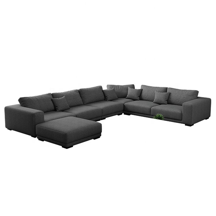 Nordic style Black Sectional Combination of Simple Modern U Shape Sofa 2019 New Design Fabric Modern 7 Seater Sofa Set